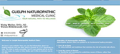 Guelph Naturopathic Medical Clinic Website Mockup